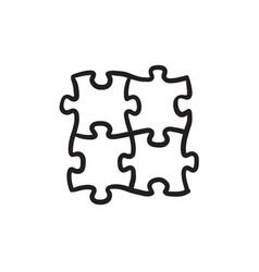 Puzzle sketch icon vector