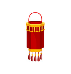 Red chinese paper street lantern cylindrical vector