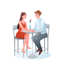 romantic couple on date two adult lovers sitting vector image