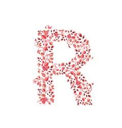 Romantic floral letter R vector