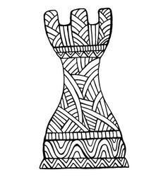 rook chess piece decorative pattern coloring page vector image