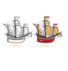 sailing ship icons linear and colorful ship icon vector image