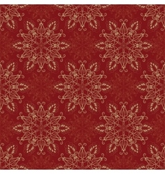 Seamless Mandala Pattern over red vector