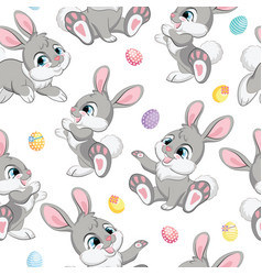 Seamless pattern gray bunnies white background vector