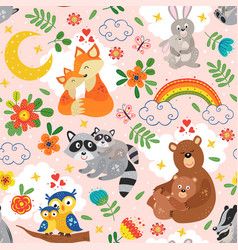 seamless pattern with cute animals mother and baby vector image