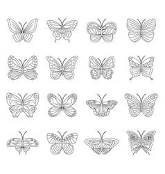 set black and white butterflies on white vector image