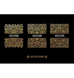 Set linear frames and floral backgrounds vector