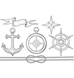 set nautical elements steering wheel compass vector image