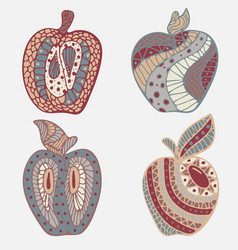 Set of 4 apples in doodles vector