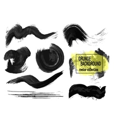 Set of black paint ink brush strokes brushes vector image