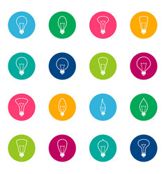 Set of bulb icons on color background vector