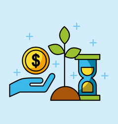 set of finance and business growth investing vector image