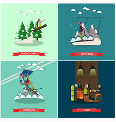 Set of winter holiday posters in flat style vector