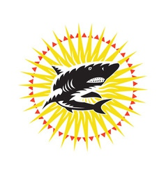 Shark Swimming Up Sunburst Woodcut vector