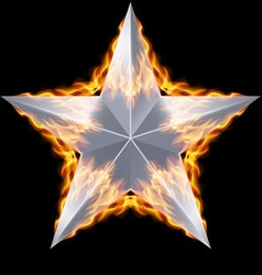 Silver star surrounded by fire vector