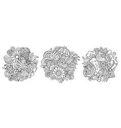spring cartoon doodle designs set vector image