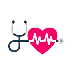 stethoscope heartbeat sign and a silhouette of vector image