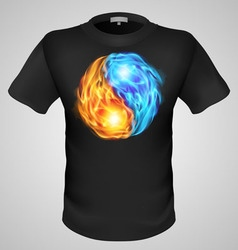 t shirts Black Fire Print man 16 vector image