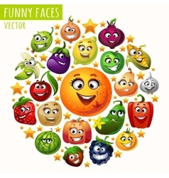 The circle of fruits and vegetables funny faces vector