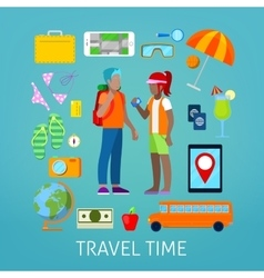 Tourism and Travel Icons Set with Tourist Couple vector image