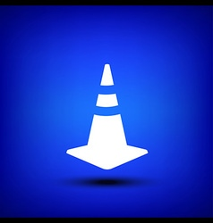 Traffic cone white on blue vector image