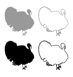 turkey icon set grey black color vector image