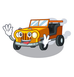 Waving jeep car in shape mascot vector