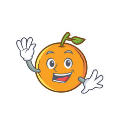 Waving orange fruit cartoon character vector