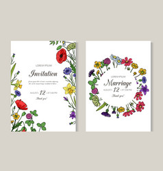 wedding invitations greeting card with summer vector image