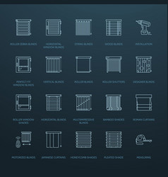Window blinds shades line icons various room vector