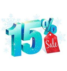 Winter sale 15 percent off vector
