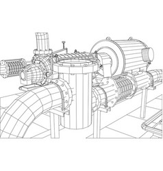 Wire-frame industrial equipment oil filte vector