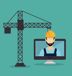 worker under construction with desktop vector image