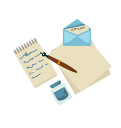 Writing writer drafts ink and pen letter and vector