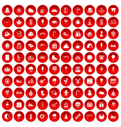100 childrens parties icons set red vector image vector image