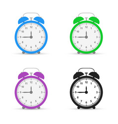 alarm clock set icons flat design style vector image