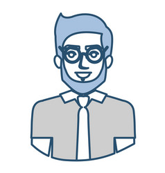 Blue silhouette with half body of man with glasses vector