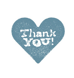 Blue stamped heart with Thank You text Isolated on vector image