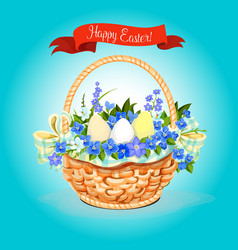 easter eggs and flowers bunch basket poster vector image