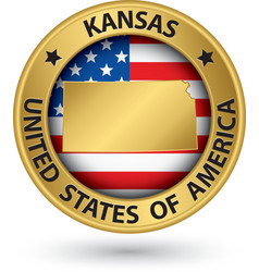 Kansas state gold label with state map vector