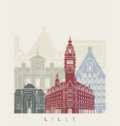 lille skyline poster vector image vector image