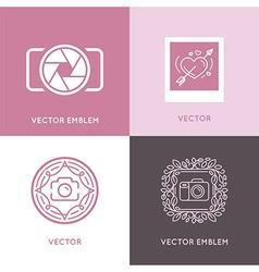 set of wedding photography logo design templates vector image