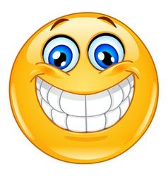 big smile emoticon vector image vector image