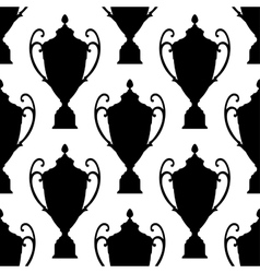 Black silhouette trophy cup seamless pattern vector image