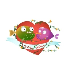 Cartoon Fish in Love with Red Heart for Kids vector image vector image