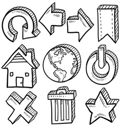 doodle icons internet computer vector image vector image