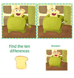 find differences between the two images - kitchen vector image vector image