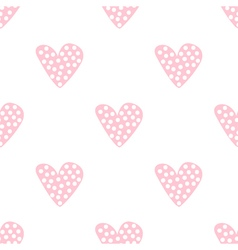 Hand drawn dotted hearts seamless pattern vector image vector image