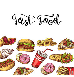 hand drawn fast food elements vector image vector image