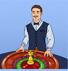 Pop art croupier behind roulette casino gambling vector